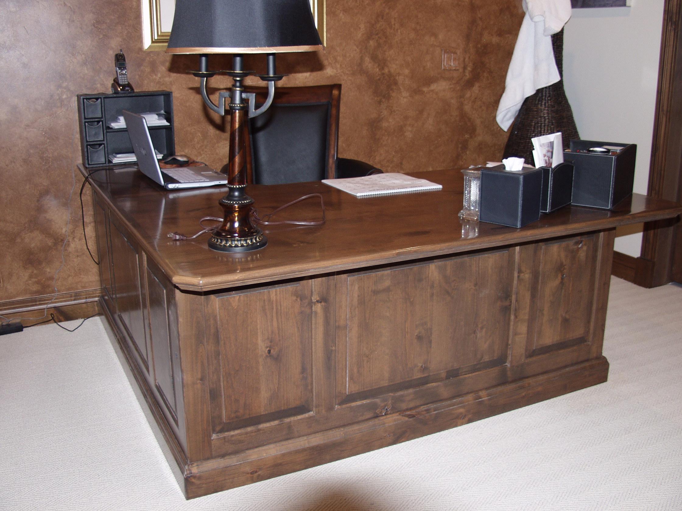Glazed knotty alder desk