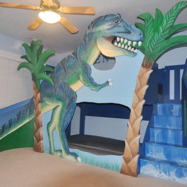 T-Rex Dinosaur Bunk Bed / Loft Bed / Indoor Playhouse