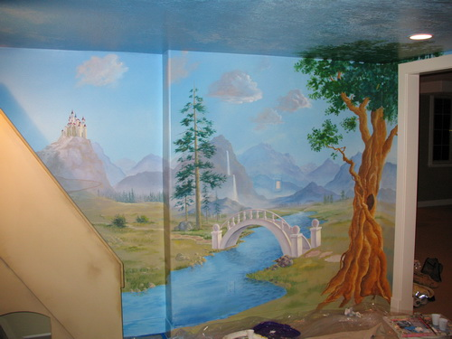 Wall Mural in the castle playhouse room