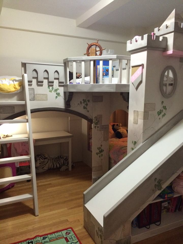 Hand Painted Castle Bunk Bed for Four Beds