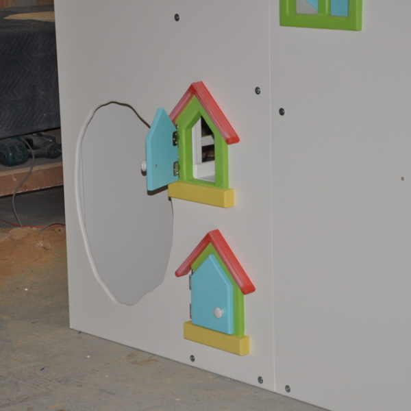 Functional mailboxes on custom playhouse.