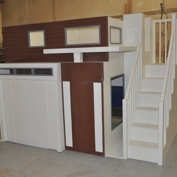 Contemporary Garage Bunk Bed Playhouse