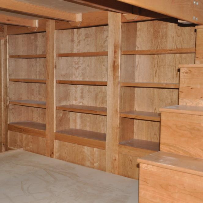 Cherrywood Platform Bed with Shelves