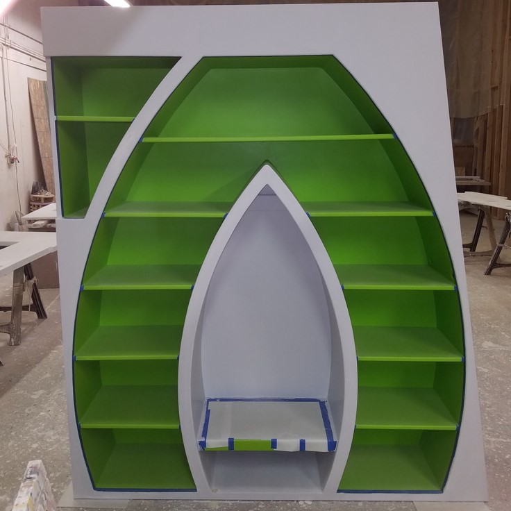 letter shaped bookshelves