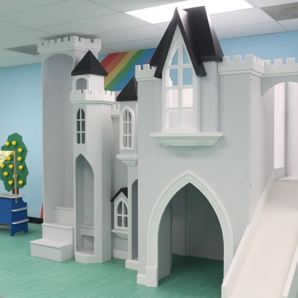 Sky View Castle, Castle playhouse, kids indoor playhouse, indoor playhouse with slide, custom kids furniture