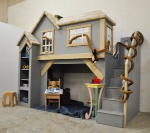 Custom kid furniture, Spanky's clubhouse, gender neutral kid's indoor playhouse bunk bed with staircase and shelves