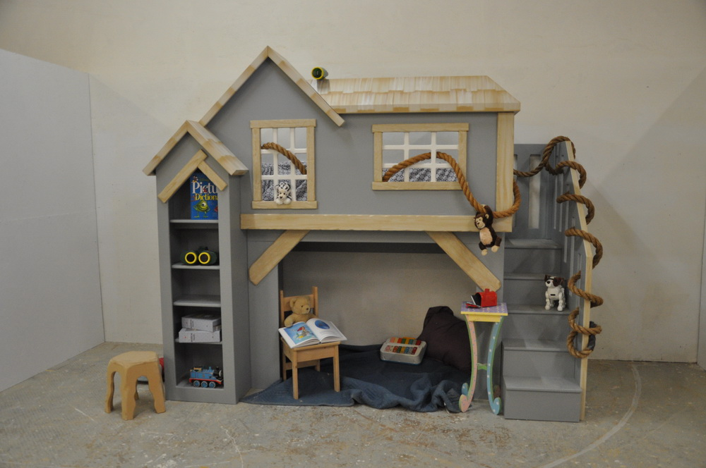 Spanky's clubhouse, gender neutral kid's indoor playhouse bunk bed with staircase and shelves
