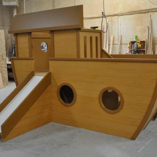 Noah's Ark Kids Indoor Playhouse with Slide and Stairs, Wood Grain Finish