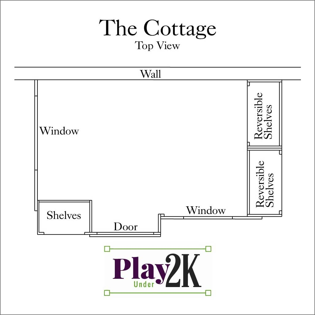 Indoor Cottage Playhouse, Kids Playhouse, Under Two Thousand Dollars, Reversible Shelves