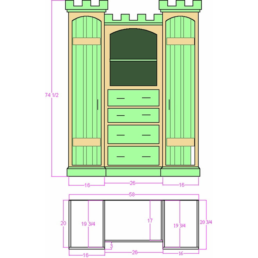 Devonshire Castle Dresser Plans