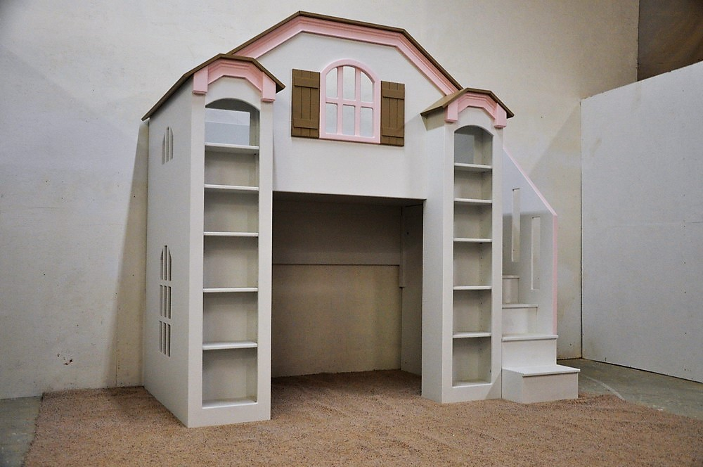 custom kid bed, contemporary girls bed, shelves and stairs, pink trim, brown roof, playhouse and loftbed, kids indoor playhouse
