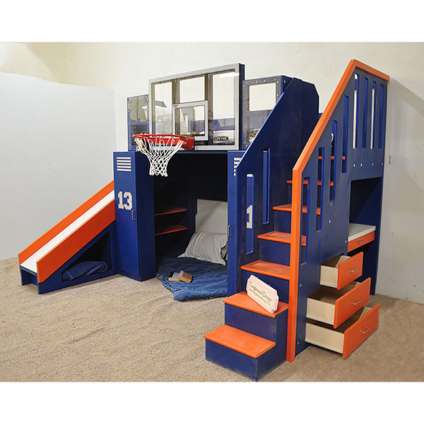 Ultimate Basketball Bunk Bed, Children's Indoor Playhouse, NBA Sized Basketball Hoop, Drawers, Built-in Desk, Slide, Staircase, Blue and Orange