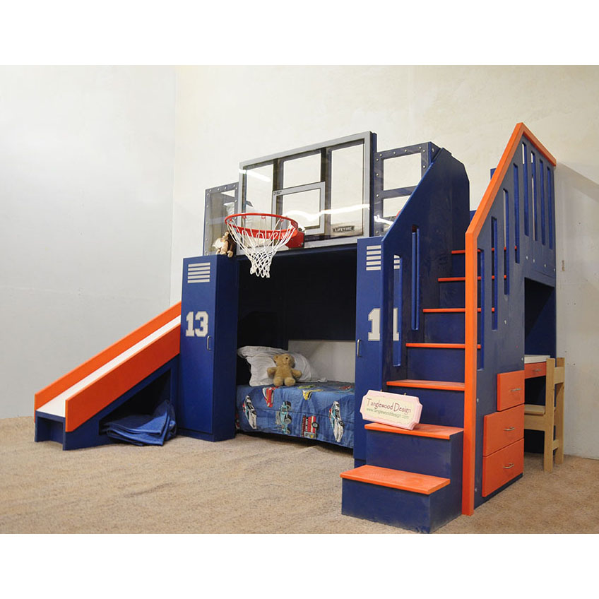 Ultimate Basketball Bunk Bed Childrens Indoor Playhouse Nba Sized Basketball Hoop Drawers