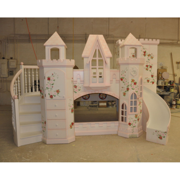 Castle Vicari Princess Bunk Bed, Princess Castle Bunk Bed, Pink Princess Castle Bed, Roses, Curved Staircase, Curved Slide